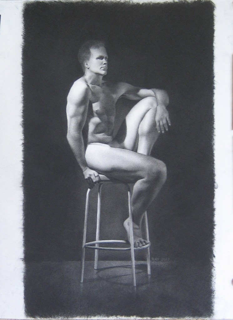 "Alan Douglas Ray, ""Self-Portrait"", Charcoal on Arches Paper, 24"" x 18"", Private Collection"