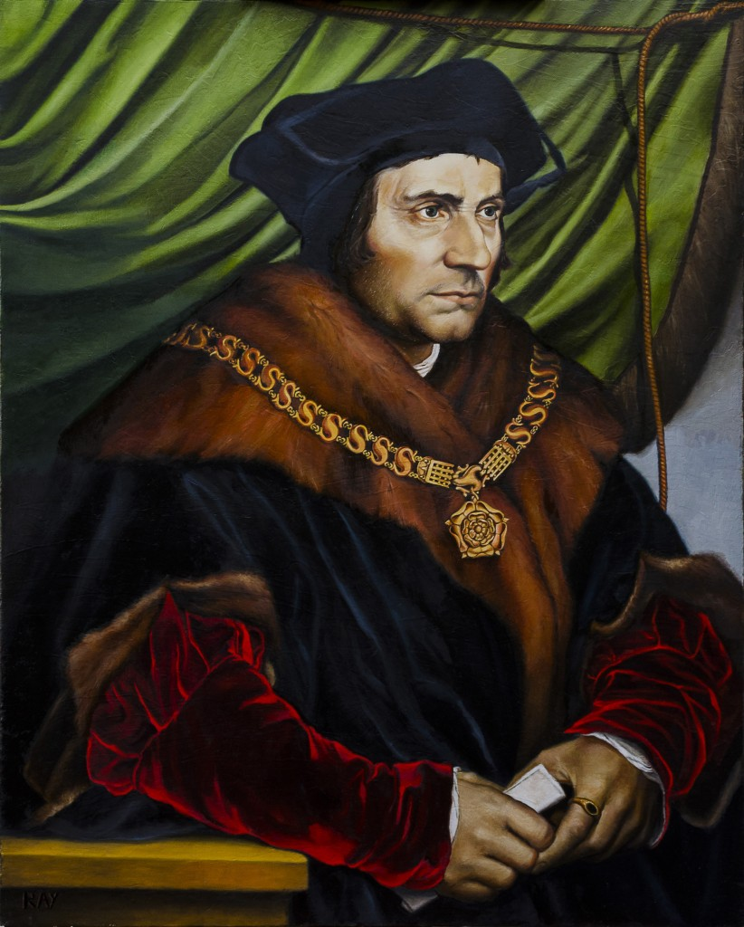 "Alan Douglas Ray, ""Sir Thomas More, after Holbein"", oil on linen, 30""x24"", Private Collection"