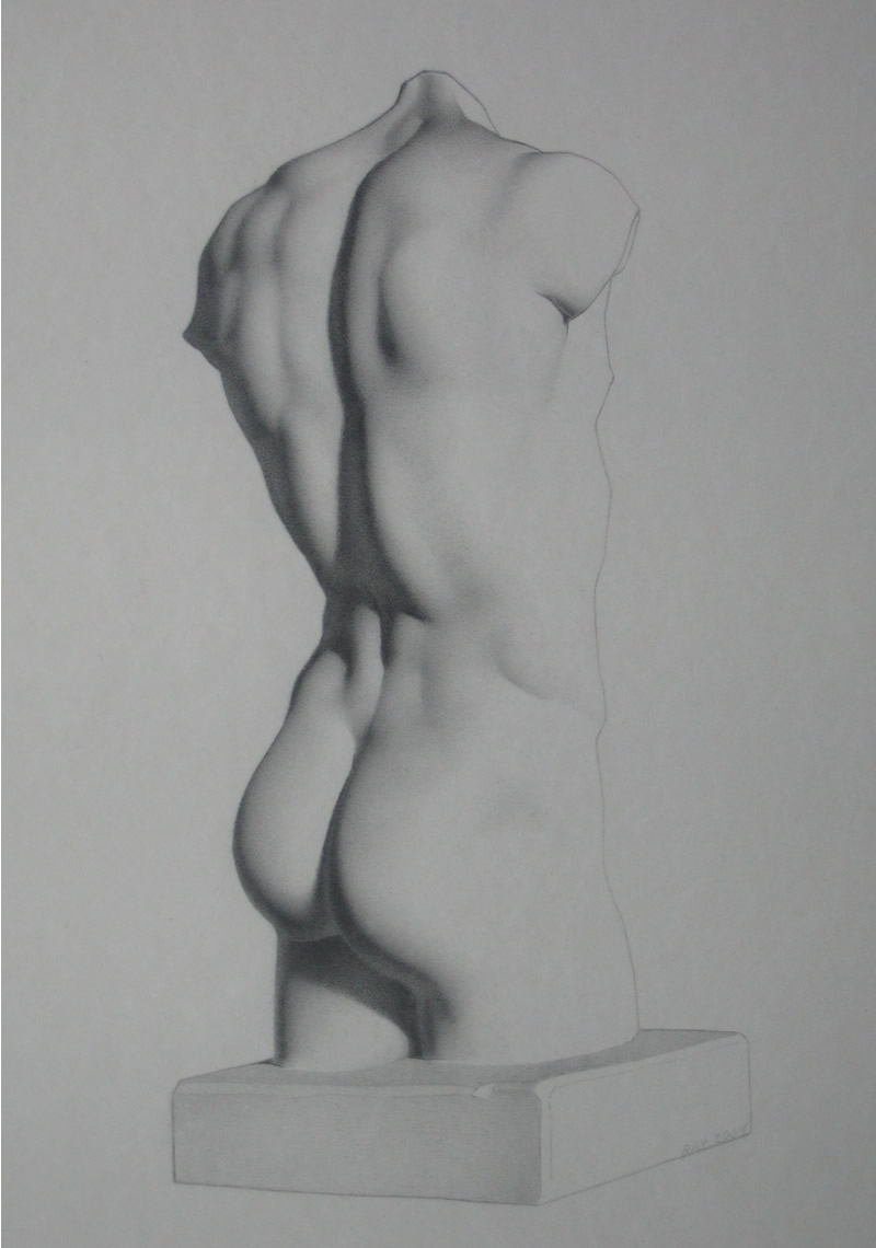 "Alan Douglas Ray, ""Torso"", graphite on Stonehenge paper, 17""x11"", Private Collection"