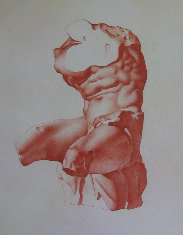 "Alan Douglas Ray, ""Belvedere Torso"", red chalk on Arches paper, 26""x20"", Private Collection"