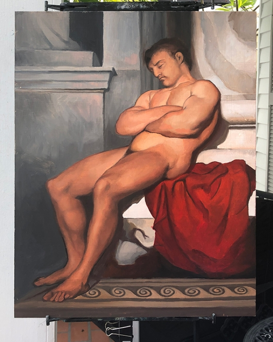 """Slave Sleeping, after Hébert"", 24"" x 18"", oil on panel"
