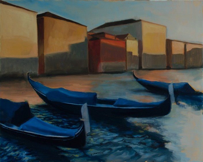"""Venice Gondolas"", 16""x20"", oil on panel, in progress"