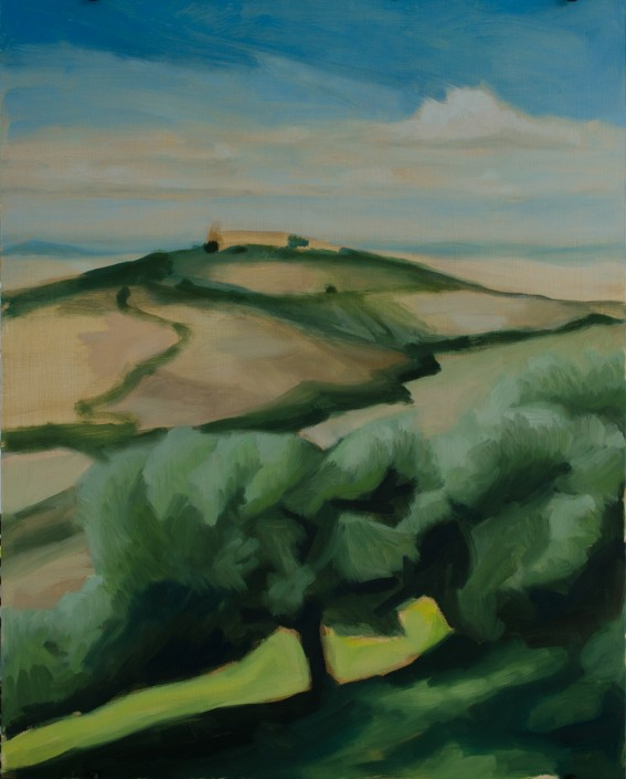 """View of Pienza"", 20""x16"", on panel"