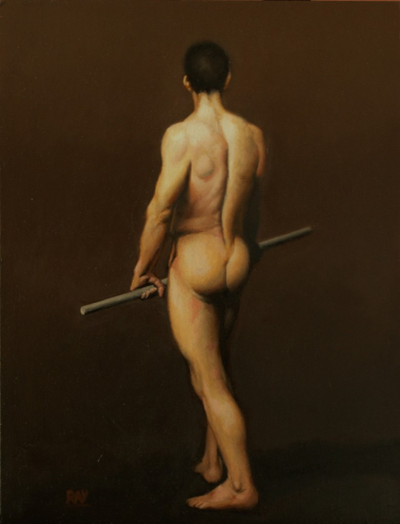 "Alan Douglas Ray, ""Warm Figure Study, after Angel"", oil on panel, 12""x9"", Private Collection"