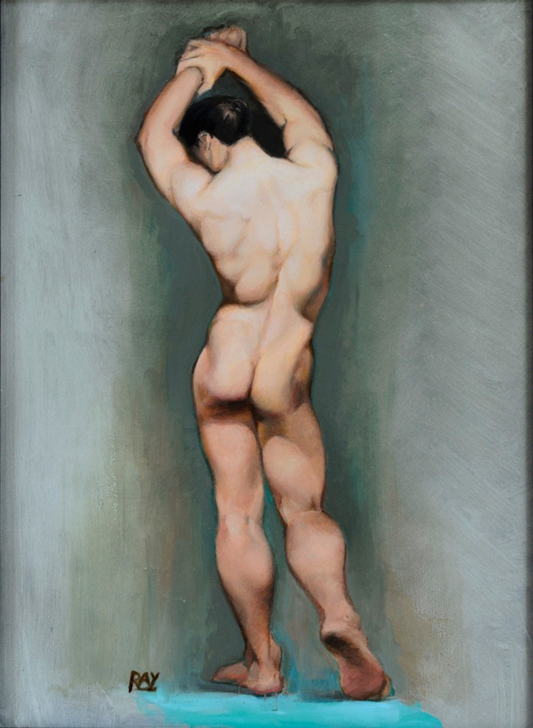 "Alan Douglas Ray, ""Male Figure Study"", oil on panel, 12""x9"", Private Collection"