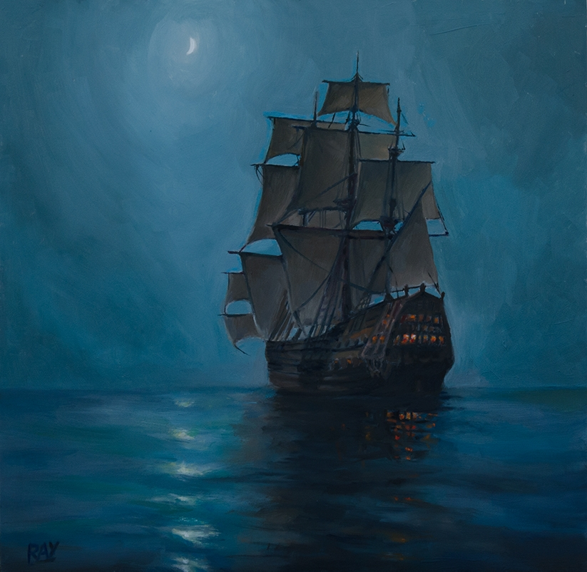 "Alan Douglas Ray, ""Crescent Moon, after Dawson"", 12"" x 12'"", oil on panel, private collection"