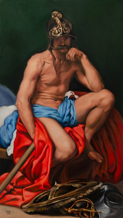 "Alan Douglas Ray, ""Mars Resting, after Velázquez"", 28"" x 16"", oil on panel, $4000."