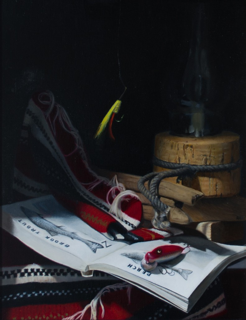 "Alan Douglas Ray, ""Bait"", Oil on Panel, 18""x14"", $1750."