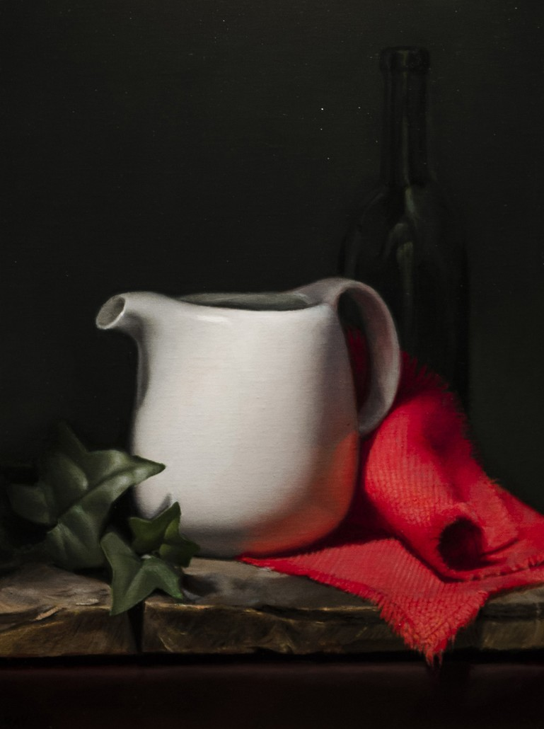 "Alan Douglas Ray, ""White Teapot"", Linen on Birch Panel, 16""x12"", private collection"