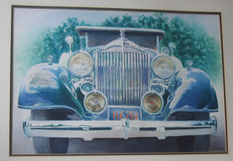 """Alan Douglas Ray, """"1936 Packard"""", 18""""x 24"""", Watercolour, private collection"""