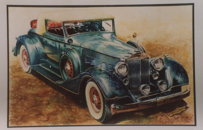 "Alan Douglas Ray, ""1936 Packard"", 18""x 24"", Watercolour, private collection"