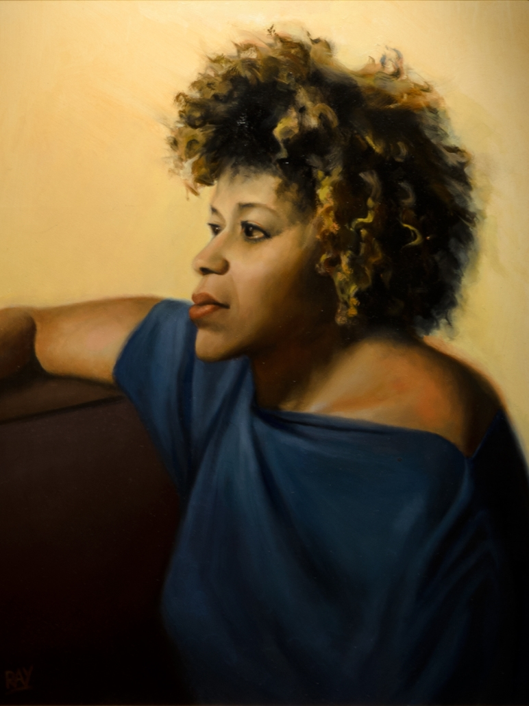 "Alan Douglas Ray ""Dominique Listening to Piaf"", oil on panel, 20""x16"", $2000"