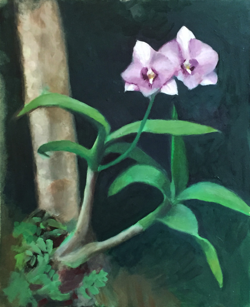 "Alan Douglas Ray, ""Orchids Growing on Christmas Palm"", oil on panel, 8""x10"", $300"