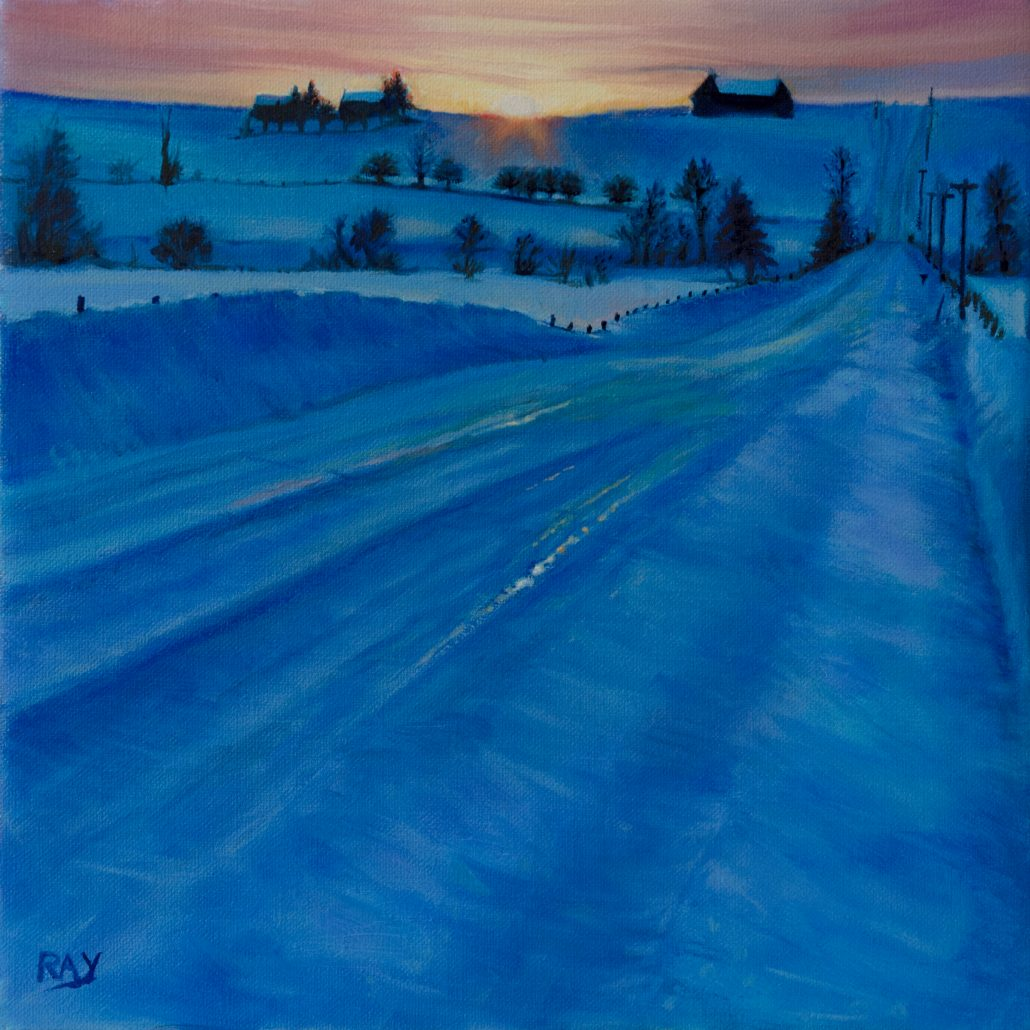 """Alan Douglas Ray, """"Blue Country Road"""", 12"""" x 12"""", oil on linen, $660"""