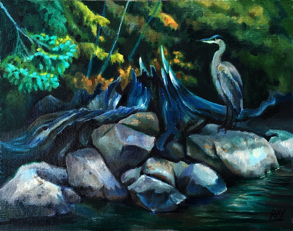 "Alan Douglas Ray, ""Blue Heron"", 8"" x 10"", oil on panel, $450"