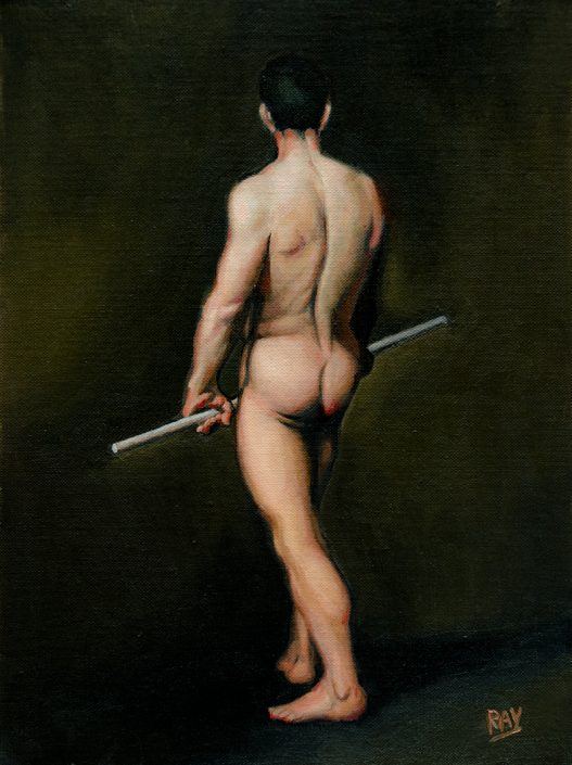 "Alan Douglas Ray, ""Cool Figure Study, after Angel"", oil on panel, 12""x 9"", private collection"