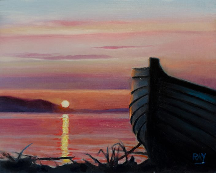 "Alan Douglas Ray, ""Boat at Sunset"", 8"" x 10"", oil on panel, $450.00"