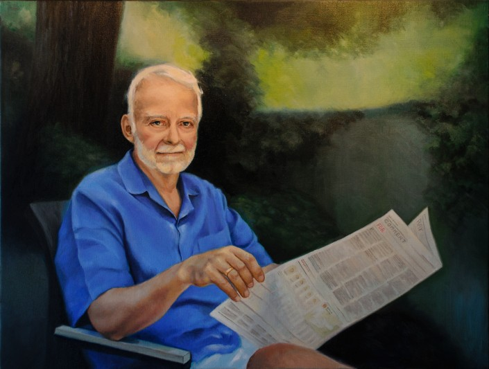 "Alan Douglas Ray, ""Portrait of F. David Rounthwaite"", oil on linen, 24""x32"", Private Collection"