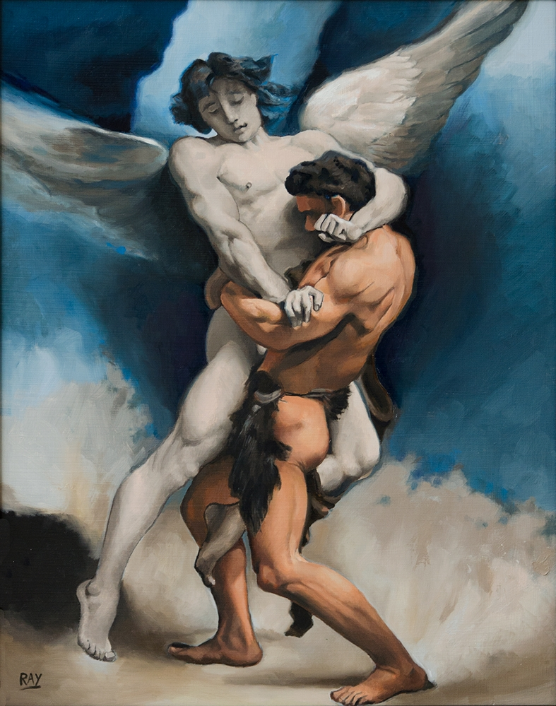"""Jacob Wrestling the Angel"", 20"" x 16"", oil on panel"