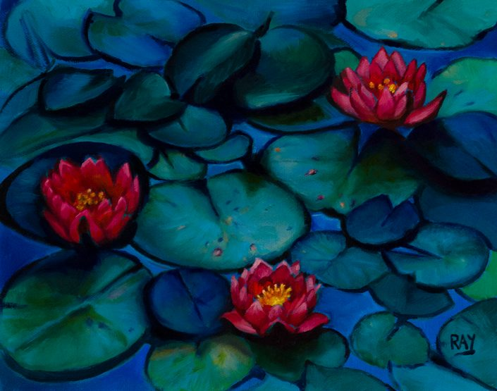 "Alan Douglas Ray, ""Lily Pond"", 8"" x 10"", oil on panel, $450.00"