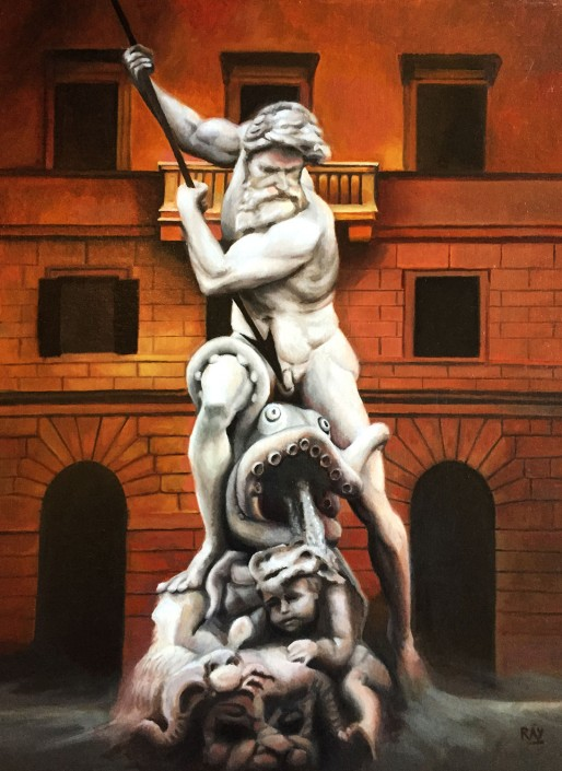 "Alan Douglas Ray, ""Neptune in Piazza Navona"", oil on panel, 24""x""18"", $4000"
