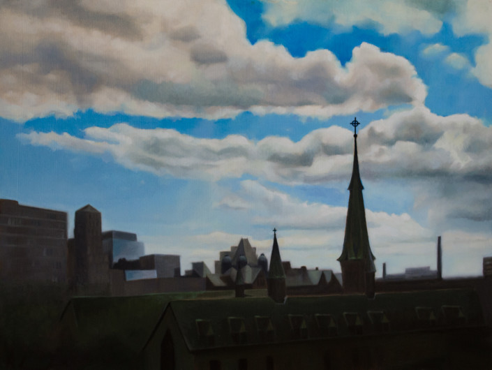 "Alan Douglas Ray, ""Open Skies, Toronto"", oil on wood panel, 18""x24"", private collection"