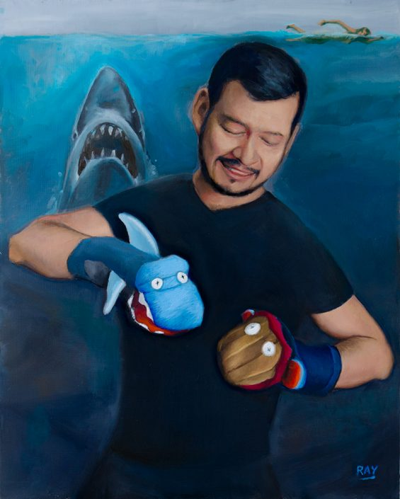 "Alan Douglas Ray, ""The Retelling of JAWS"", 20"" x 16"", oil on panel, $1.920"