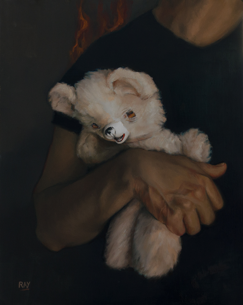 "Alan Douglas Ray, ""Teddy's Rescue"", 20"" x 16"", oil on panel, $1.920"