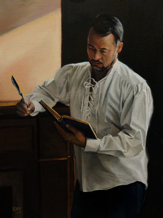"Alan Douglas Ray, ""Reader"", 16"" x 12"", oil on panel, $1800"