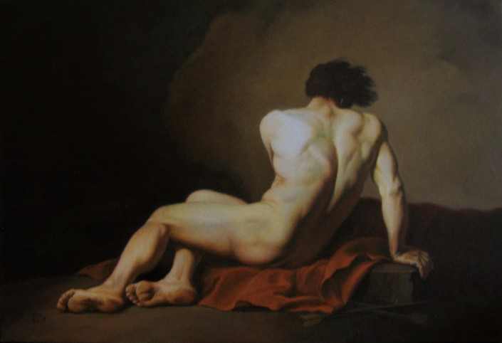 "Alan Douglas Ray, ""Patroclus, after David"", oil on linen, 24""x28"", Private Collection"