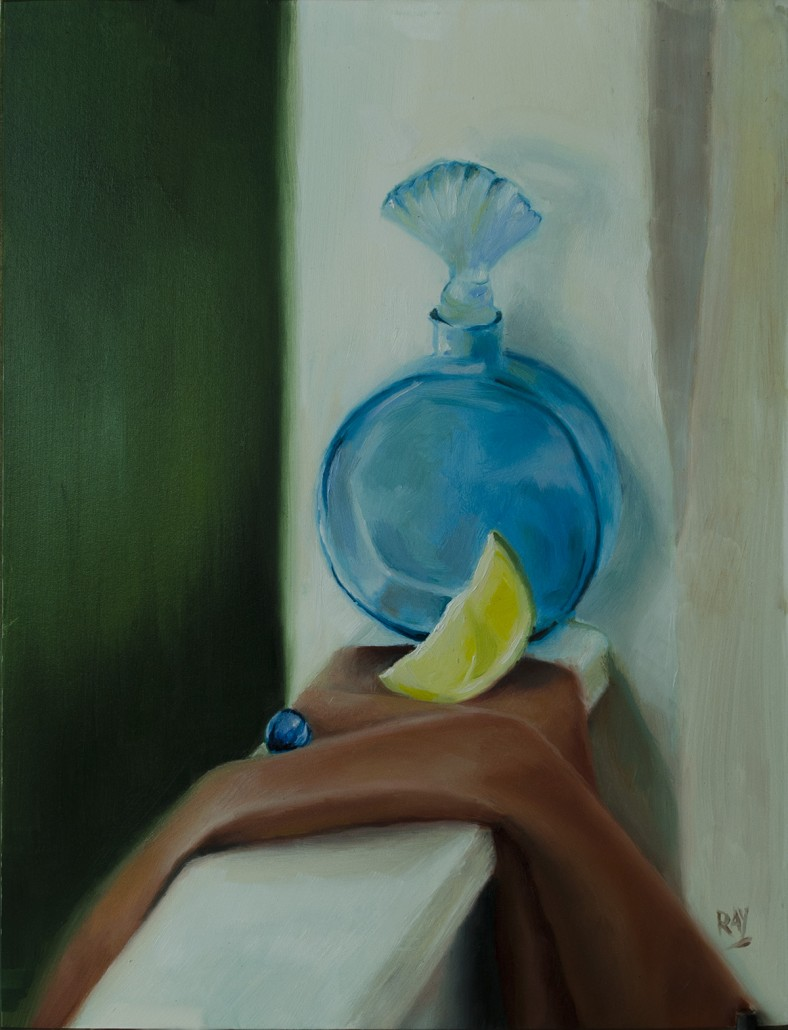 "Alan Douglas Ray, ""Blue Bottle, Lemon Slice and Marble"", 12""x9"" oil on panel, $600"