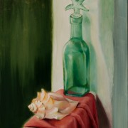 """Alan Douglas Ray, """"Green Bottle and Shell"""", 12""""x9"""" oil on panel, $600"""