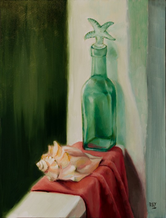 "Alan Douglas Ray, ""Green Bottle and Shell"", 12""x9"" oil on panel, $600"
