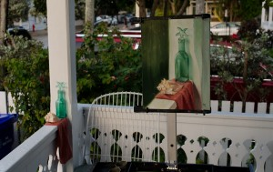 On the left is the setup for the green bottle painting.