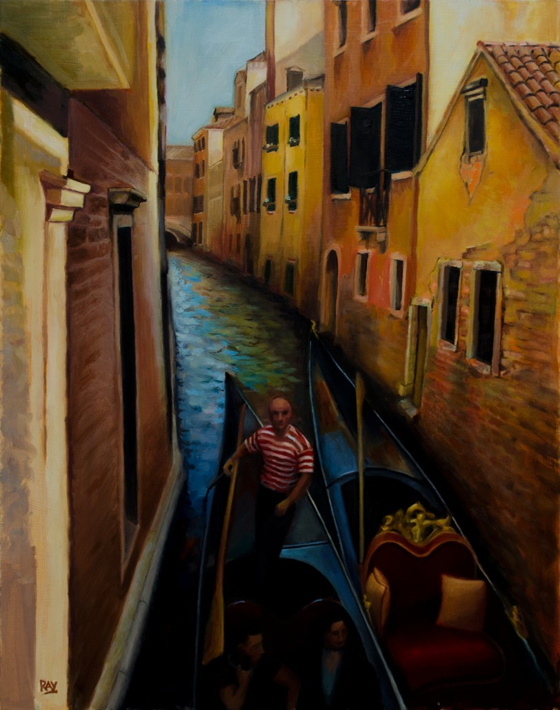"""Alan Douglas Ray, """"Squeeze"""", 20"""" x 16"""", oil on dibond panel, private collection"""