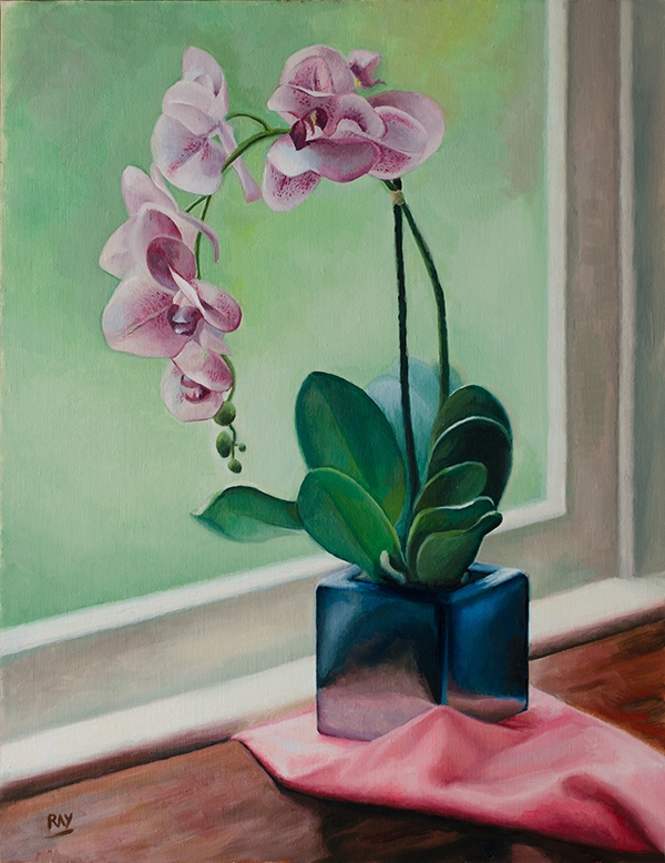 "Alan Douglas Ray, ""Orchid Still Life"", 18""x14"", oil on panel, $1800"