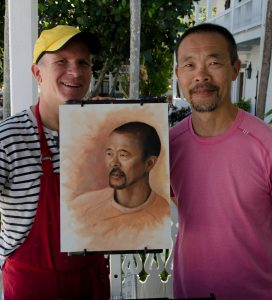 Alan and Koji with his Portrait, 2016