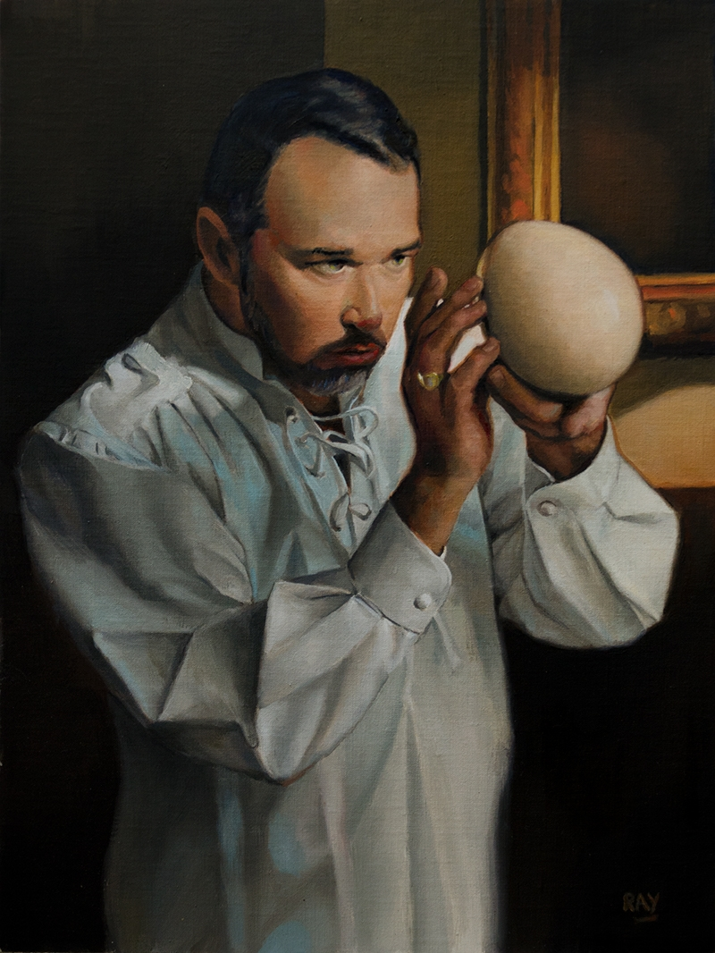 "Alan Douglas Ray, ""Egg"", 16"" x 12"", oil on panel."