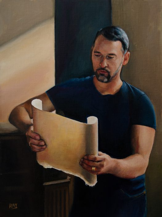 "Alan Douglas Ray, ""Scroll"", 16"" x 12"", oil on panel. Private collection."