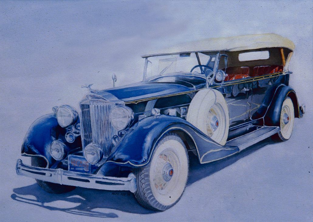 """Alan Douglas Ray, """"1934 Packard"""", 18""""x 24"""", Watercolour, private collection"""