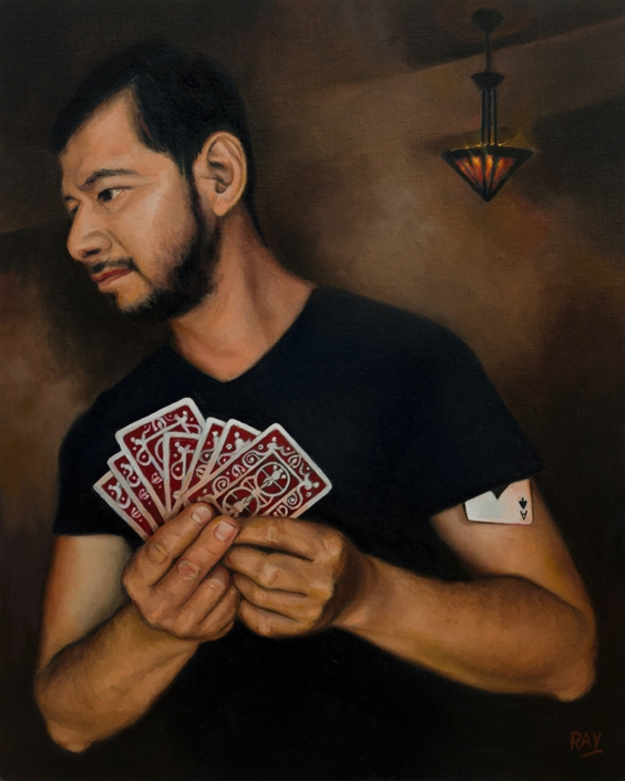 "Alan Douglas Ray, ""The Card Sharp"", 20"" x 16"", oil on panel, $1920."