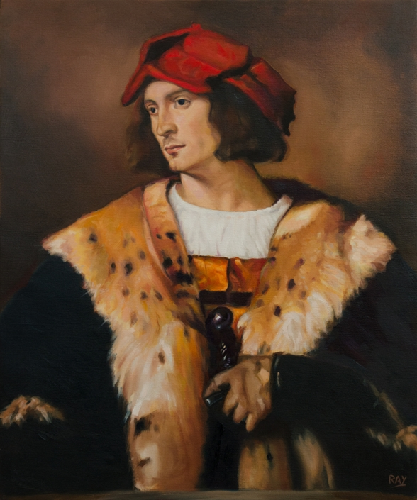 "Alan Douglas Ray, ""Young Man In Red Hat After Titian"", 24"" x 20"", oil on linen, $4000."