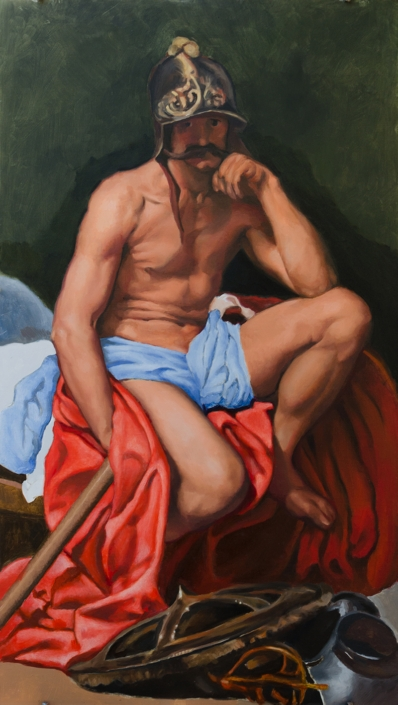 """Mars Resting, after Velázquez"", 28"" x 16"", oil on panel, in progress"