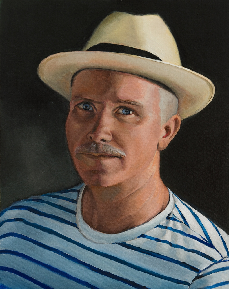 "Alan Douglas Ray, ""Self- Portrait, Key West 2019"", 16"" x 12"", Oil on Panel, private collection"