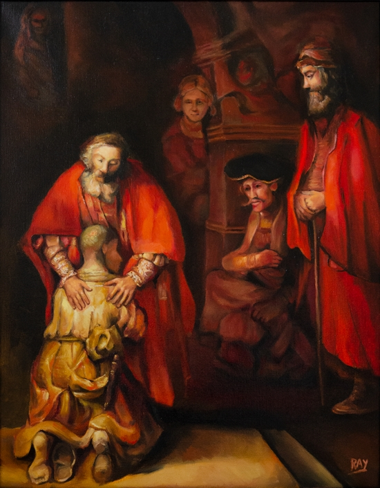 "Alan Douglas Ray, ""Return of the Prodigal Son, after Rembrandt"", 28"" x 22"", oil on linen, private collection"