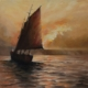 "Alan Douglas Ray, ""Sunset Sail, after Mundy"", 12"" x 12"", oil on panel"