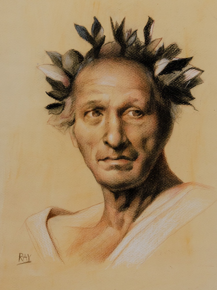 "Alan Douglas Ray, ""Caesar"", 12"" x 9"", white chalk and charcoal on toned watercolour paper, $490"