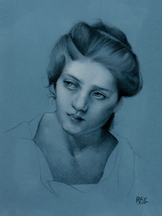 """Head Study, after Bouguereau"", 12"" x 9"", chalk and charcoal on toned watercolour paper, $490.00."