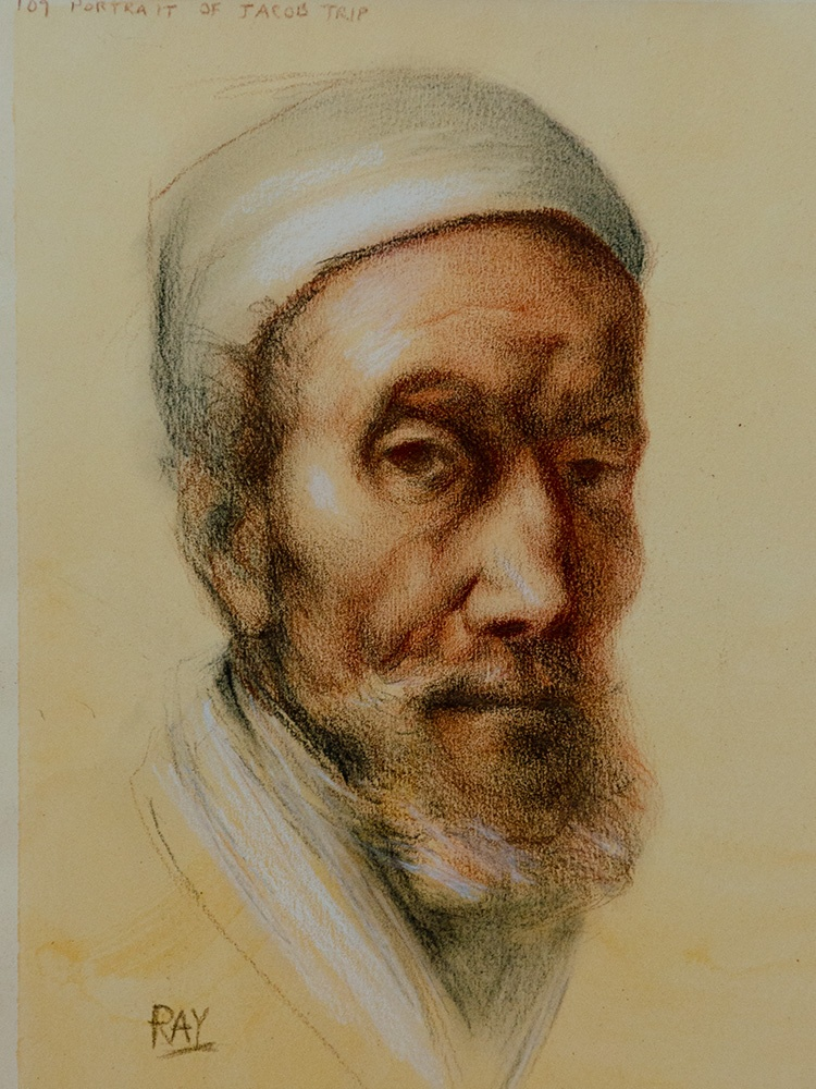 """Jacob Tripp, after Rembrandt"", chalk and charcoal on toned watercolour paper, 8"" x 6"", $210"
