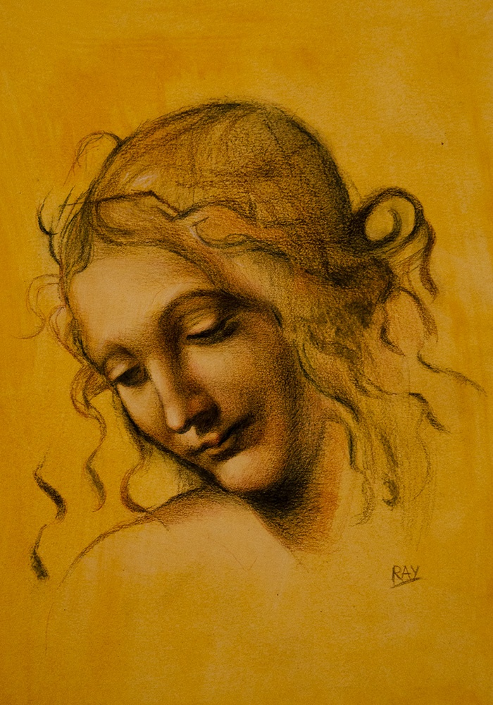 "Alan Douglas Ray, ""Leda, after Da Vinci"", 12"" x 9"", charcoal and white chalk on toned watercolour paper, $490"